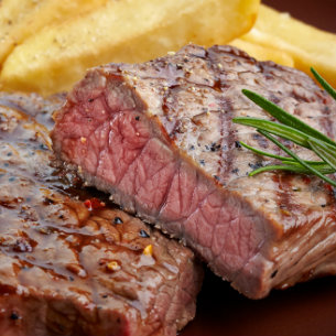 A slice of premium steak
