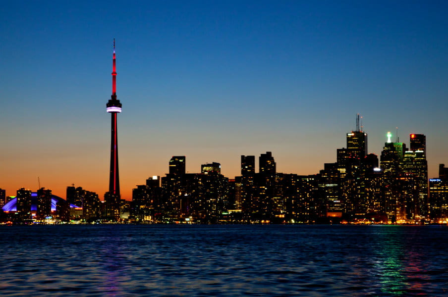 Cityscape of Toronto, Canada during sunset