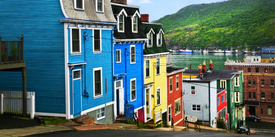 colorful houses in st. john's, newfoundland
