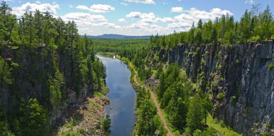 deep canyon near thunderbay, north of superior lake