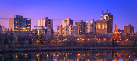 Downtown Saskatoon skyline view at night