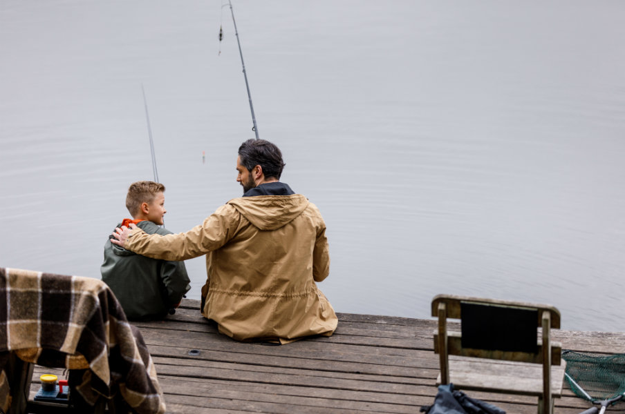 father and son fishing together in saint donat