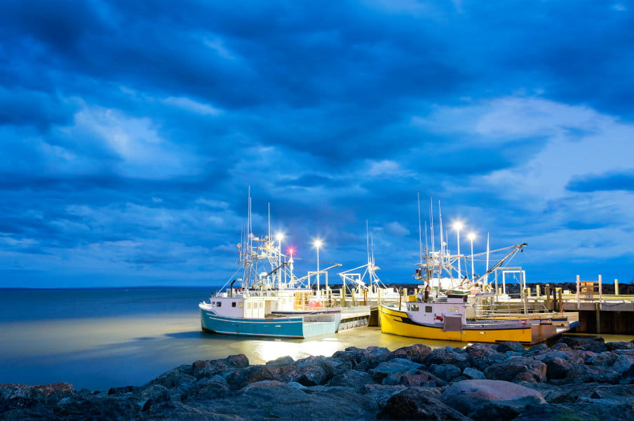 Fishing boats moored in Alma, Bay of Fundy, on the New Bruswick Atlantic coastline in Canada