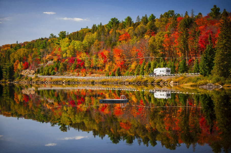 colorful autumn leaves and highway 60, Algonquin Park, Ontario, Canada