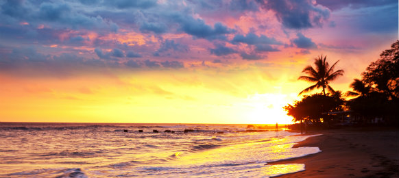 holiday in the beach with beautiful sunset