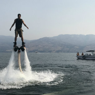 man enjoying flyboarding through hyrdofly in kelowna