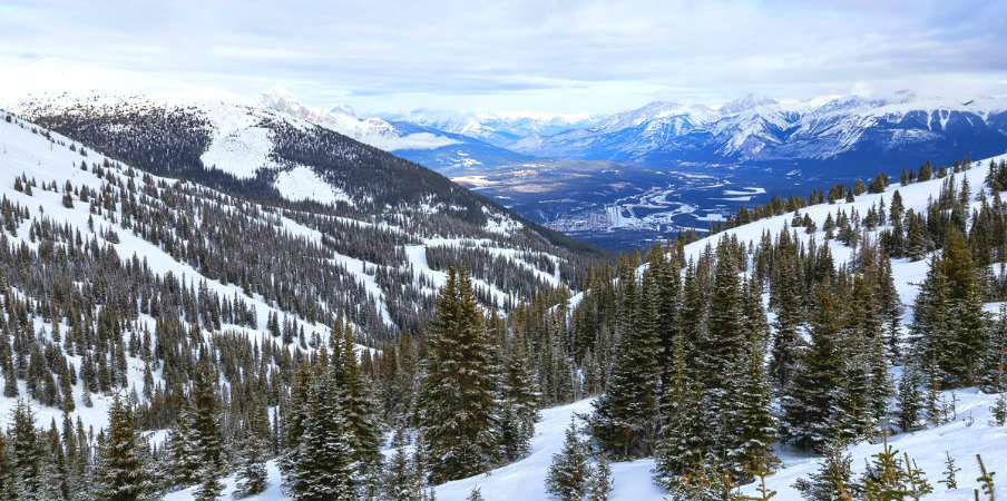 Jasper National Park with Rocky Mountain background