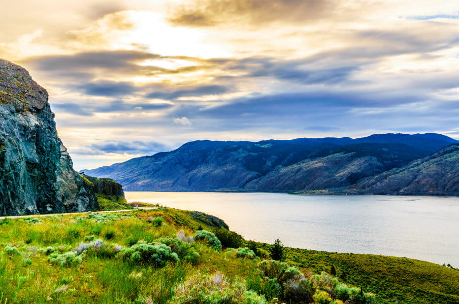 Sunset over Kamloops Lake along the Trans Canada Highway in British Columbia