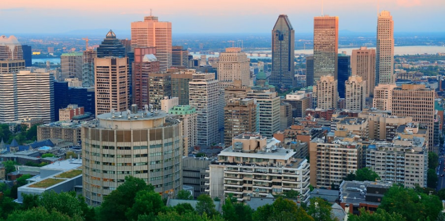 montreal city skyline at sunset