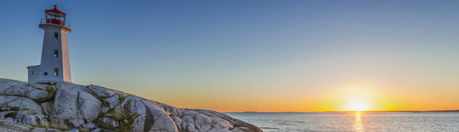 peggys cove's lightouse at sunset