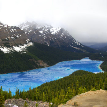 Peyto Lake thawing in Spring