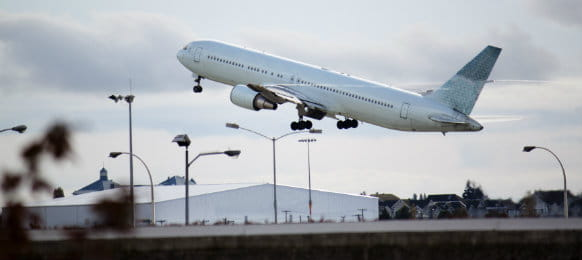 plane taking off at vancouver Airport