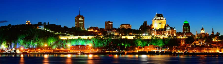 Panoramic landscape at Quebec city over river from Levis