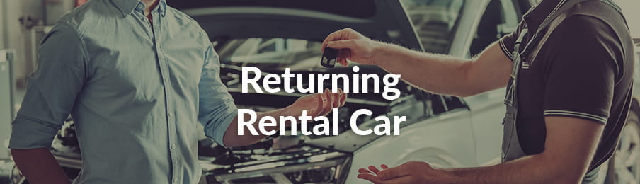 Returning hire car at the car rental depot