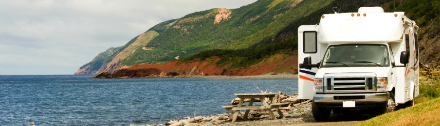 RV rental at picnic area of Cape Breton Highlands National Park, Nova Scotia, CA