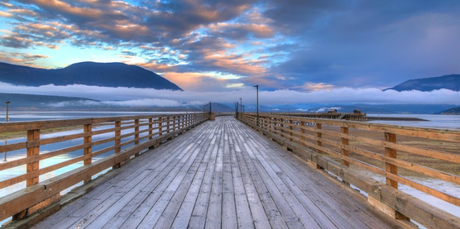 salmon arm wharf on cloudy morning
