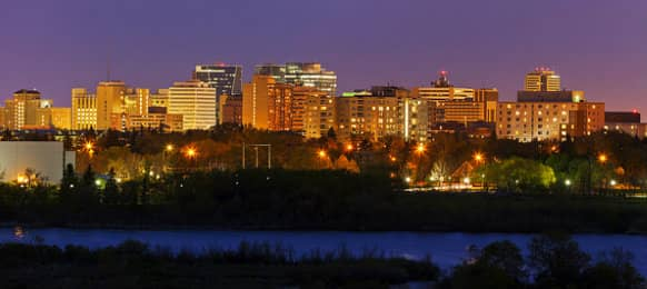 Skyline view of Regina at sunset Saskatchewan, CA
