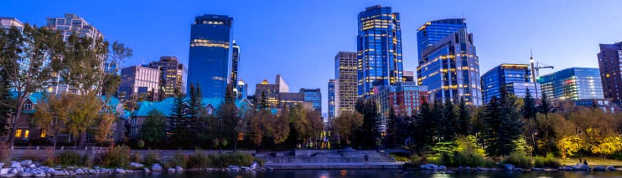 Skyline view of Calgary city in Alberta, CA