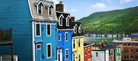 St Johns street with colorful houses in Canada