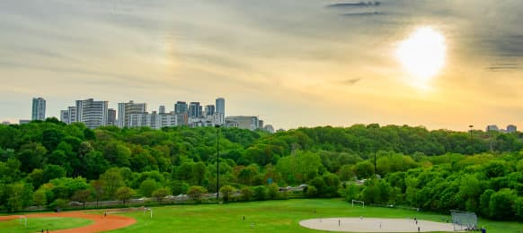 Sunset in the spring from Riverdale Park East, Canada