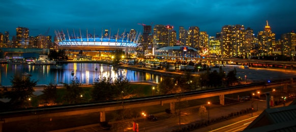 Breathtaking view in Vancouver at night