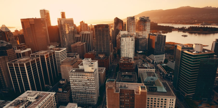 vancouver rooftop view at sunset