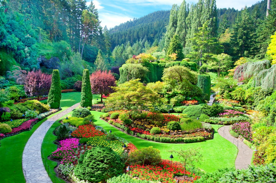 A view of the sunken garden at Butchart Gardens, Central Saanich, Vancouver Island, British Columbia, Canada
