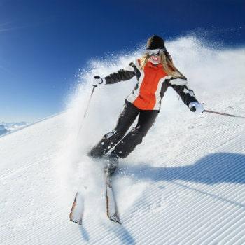 woman skiing in the mountain